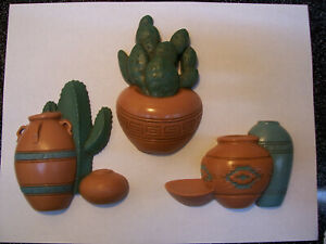 3 VINTAGE BURWOOD CACTUS AND POTS WALL HANGING PLAQUES