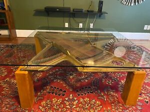 Handcrafted Piano Harp Coffee/Living Room Table 5x5ft glass top is 1 in thick.
