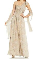 Adrianna Papell One Shoulder Floral Print Chiffon Full Length Gown Sz 4 NWT $229