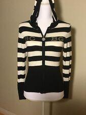 BCBG Maxazria Women's Stripe Full Zip Up Light Hoodie Size Medium Black/White
