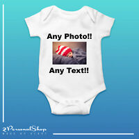 Personalised Photo Baby Grow Vest Bodysuit Girl Or Boy Perfect Gift Custom