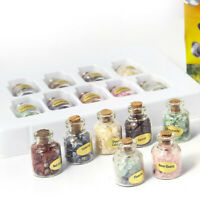 9Pcs Mini Gemstone Bottles Set Box Quartz Crystal Tumbled Gem Reiki Wicca Stones