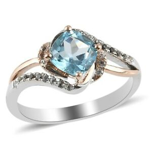 10K Rose Gold 925 Silver Skyblue Topaz Cubic Zirconia CZ Ring Gift Size 7 Ct 1.4