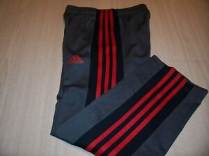 ADIDAS GRAY W/RED/BLACK ATHLETIC PANTS BOYS SMALL 8 NICE CONDITION