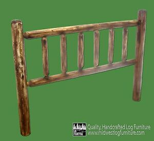Torched Cedar Log Headboard - Full $239 - FREE SHIPPING