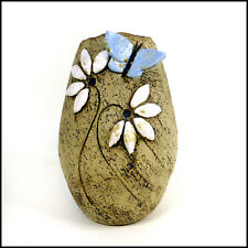 Daisy Vase with Pale Blue Butterfly by Maggie Betley - Zoo Ceramics - Stoneware