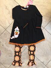 Girls AnnLoren Halloween ghost pumpkin dress and ruffle Pants set Sz 11/12 Nwt