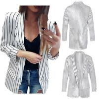 Mode Femme Veste à Manches Longues Cardigan Blazer Rayures  Outwear Manteaux 25