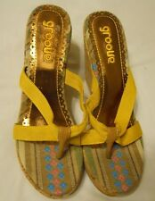 Women Wedges Sandals Shoes Size 6 Yellow Groove Alexis