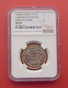 Gibraltar 1998AA The Lernaean Hydra 2 Pounds Bi-metallic Coin NGC MS64