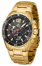 FIREFOX GOLDEN FIREBIRD Edelstahl Chronograph vergoldet Herrenuhr FFS265 schwarz