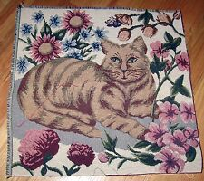 """1 Colorful  """"Cat in the Flower Garden Tapestry""""  CRAFTING Fabric Panel"""