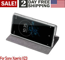 Sony Xperia XZ3 Case Flip Cover PU Leather Shockproof Kickstand Card Slot Gray
