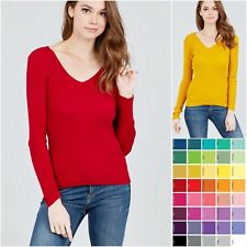 S M L Women's V-Neck Fitted Rib Sweater Long Sleeve Warm Soft Knit Top SW2668