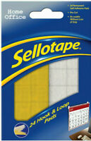24 x Sellotape Hook and Loop Sticky Pads Home Office Stationery 20 x 20mm New