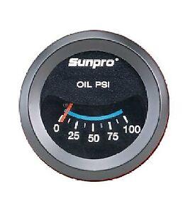 "Sunpro 2"" Oil Pressure Gauge Black / Black Bezel 0-100 PSI New CP7982 Warranty"