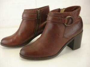 Women's 7.5 B M Frye Janis Ring Brown Leather Ankle Short Boots Side Zip O-Ring