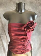 Corset  Basque Burlesque Dress Top Size 6 New By Landmark Burgundy RRP £150