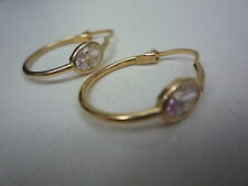 new 18ct 18k yellow gold earrings sleepers hoop with white zircon no.3