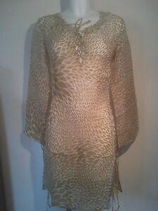 APSARA PATTERNED LINEN & SILK BEACH DRESS