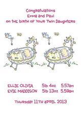 Personnalisé A5 naissance de bébé de deux filles filles félicitations carte