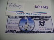"NOVELTY $100 DOLLARS BILL""DISNEYLAND CASTLE"" + DISNEY DOLLAR ENVELOPE"