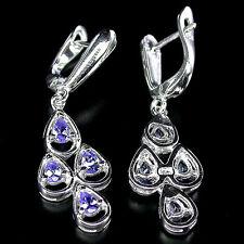 Sterling Silver 925 Stunning Dangle Genuine Natural Tanzanite Earrings