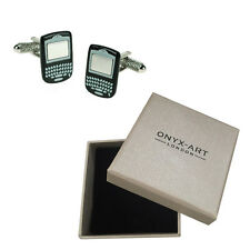 Mens Black Blackberry Phone Gadget Cufflinks & Gift Box By Onyx Art