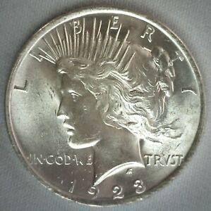 1923 Silver BU Peace Dollar $1 US Coin Uncirculated Philadelphia Mint One Dollar