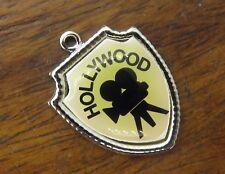Vintage silver CALIFORNIA STATE HOLLYWOOD MOVIE CAMERA TRAVEL SHIELD charm #E6