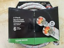 Eastman 2-Pack 6' Hot/Cold Stainless Steel Washing Machine Hoses New
