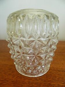 1 of 3 Heavy Vintage Retro Clear Glass Ceiling Lamp Shade Decorated Cylinder