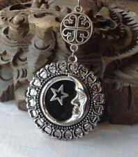 Man in the Moon Locket Necklace Large Art Deco Revival Filigree Pendant