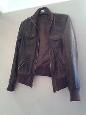 BERSHKA édition spéciale en cuir marron foncé veste (taille S) RRP £ 124.50