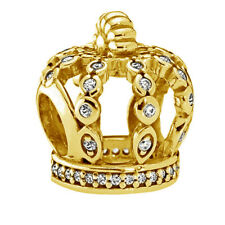 Genuine Pandora Fairy Tale Crown Charm 14K Gold Plated 792058CZ