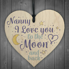 Love You Grandparents Mum Nan Gran Nanny Wooden Heart Children Birthday Gifts