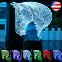 3D Horse Head 7 Color Changing Desk Night Light LED Table Lamp Home Decor Gift