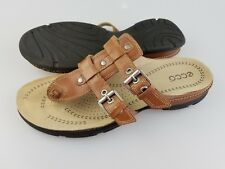 ECCO Brown Leather Strappy Slip On Sandals Thongs Shoes Women's EU 42 US 11-11.5