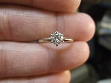 BEAUTIFUL LADIES 14K WHITE GOLD & DIAMOND SOLITAIRE ENGAGEMENT WEDDING RING, VGC