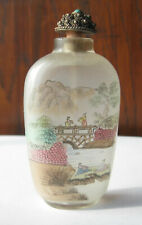 CHINE - TABATIERE VERRE PEINT PAYSAGE XXe SIECLE 8,5 CM - China Snuff Bottle