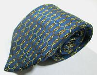 Hermes Paris 968 SA Link Pattern Blue Color Silk Necktie Tie Made In France