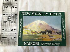 NAIROBI KENYA AFRICA NEW STANLEY HOTEL GREAT SAFARI ANIMALS LUGGAGE LABEL