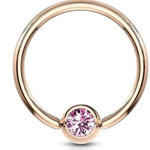 NEW & SEALED -  Crystal Rose Gold CBR captive Bead Ring Universal Piercing