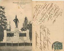 Cartolina di Alessandria, monumento a Umberto I nei giardini pubblici - 1915