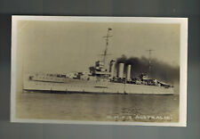 Mint RPPC Postcard Warship Navy HMAS Cruiser Australia  Close Up
