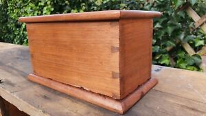 Nice old dovetailed 2 slot wooden money coin box