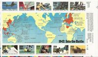 US Stamp 1992 1942 World War II Into the Battle - 10 Stamp Block #2697