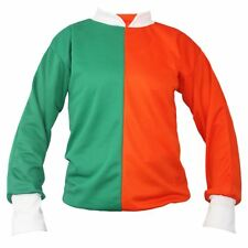 Adults Orange & Green Jockey Shirt Irish St. Patricks Day Fancy Dress Racing Top