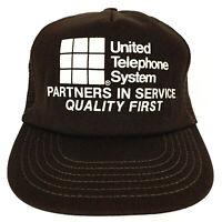Vtg 80s United Telephone System Hat Logo Mesh Foam Snapback Trucker Baseball Cap