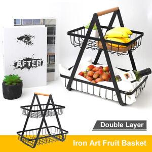 2-Tier Iron Fruit Bowl Holder Vegetable Basket Plate Tray Desktop Rack Organizer